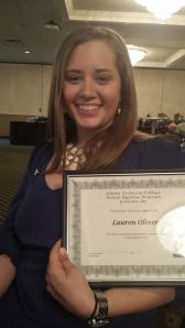 Lauren was nominated for The Volunteer Service Award at her ATC Dental Hygiene Pinning Ceremony